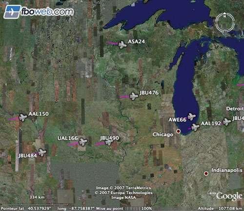 La circulation aérienne en temps quasi-réel au-dessus de la région des Grands Lacs, disponible sur le site fbo. © Google