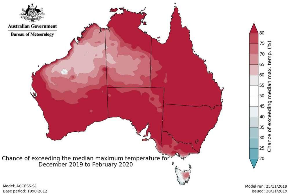 De décembre à février, une grande partie de l'Australie a 80 % de chances de dépasser les températures maximales médianes. Cette chaleur extrême est une des raisons favorisant la survenue d'incendies. © Australian Bureau of Meteorology