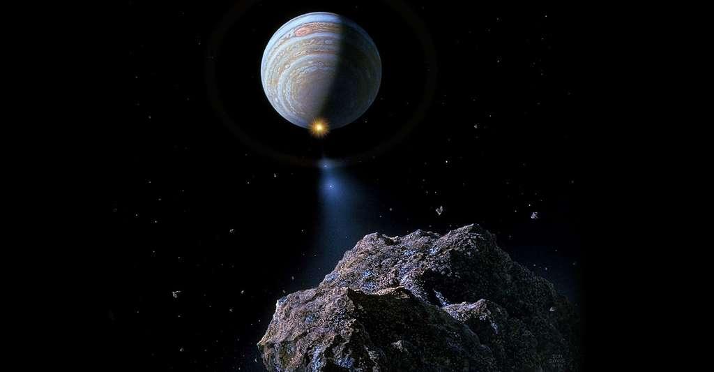 Vue d'artiste de la comète Schoemaker-Levy. © Don Davis, Domaine public