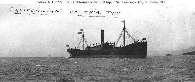 Le SS Californian était un cargo transatlantique pouvant embarquer 55 personnes. Il mesurait 136 mètres de long. Il a été torpillé le 9 novembre 1915. Son comportement la nuit du naufrage du Titanic a divisé l'opinion publique durant de nombreuses années. La carrière du capitaine Stanley Lord fut néanmoins brisée. © U.S. Naval Historical Center photograph, DP