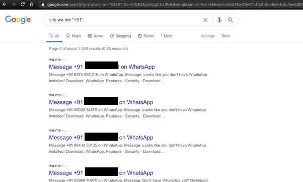 Une simple requête dans Google permet de trouver des numéros de téléphone, et il suffit de changer l'indicatif pour effectuer une recherche par pays. © Athul Jayaram