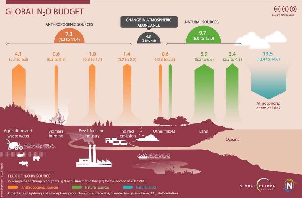 Le budget mondial de protoxyde d'azote (N2O) entre 2007 et 2016 en téragrammes – soit 109 kilogrammes - par an. Les flèches jaunes représentent les émissions de sources anthropiques (agriculture, eaux usées, combustion de la biomasse, combustibles fossiles et industrie et émissions indirectes). Les flèches vertes représentent les émissions à partir de sources naturelles. Les flèches bleues, les puits chimiques atmosphériques. © Tian et al. 2020, Nature ; Global Carbon Project (GCP) et International Nitrogen Initiative (INI)