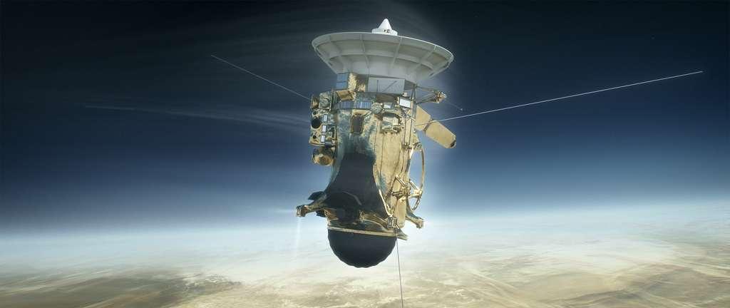 Vue d'artiste de la sonde Cassini lors de son entrée dans l'atmosphère de Saturne à 3.000 kilomètres de la surface de référence, où règne une pression de 1 bar. © Nasa, JPL