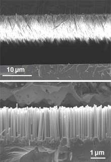 Les éléments du capteur hybride. En haut, un capteur solaire et en bas un nanogénérateur. Les deux comportent des nanofibres d'oxyde de zinc et seront installés sur le même support de silicium. © Xudong Wang