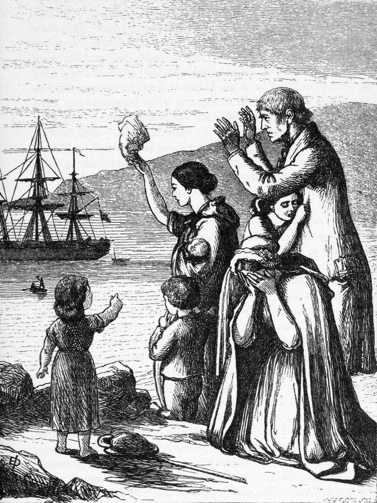 """Gravure """"Emigrants quittant l'Irlande"""" par Henry Edward Doyle, dans le livre """"An illustrated History of Ireland"""" par Mary Frances Cusack en 1868. © Wikimedia Commons, domaine public."""