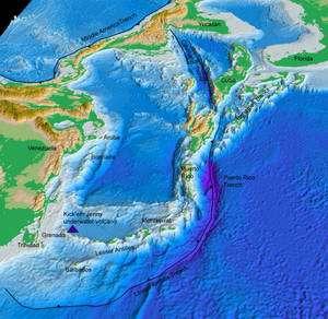 Localisation géographique du volcan Kick'em Jenny (Credit: USGS).