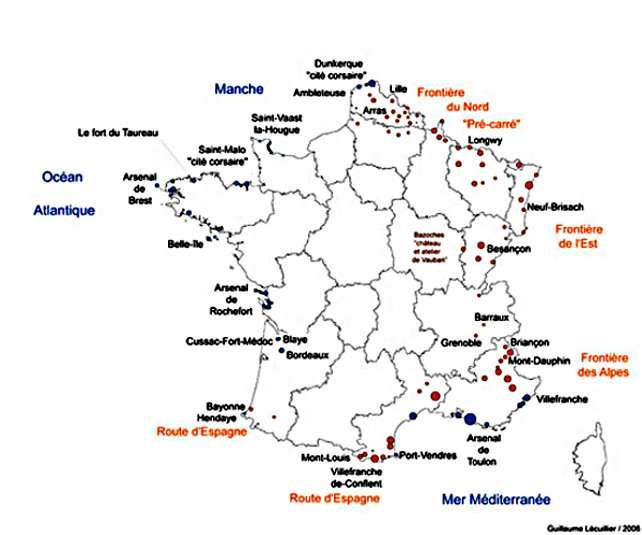 Carte de France des constructions de Vauban. © Guillaume Lecuiller