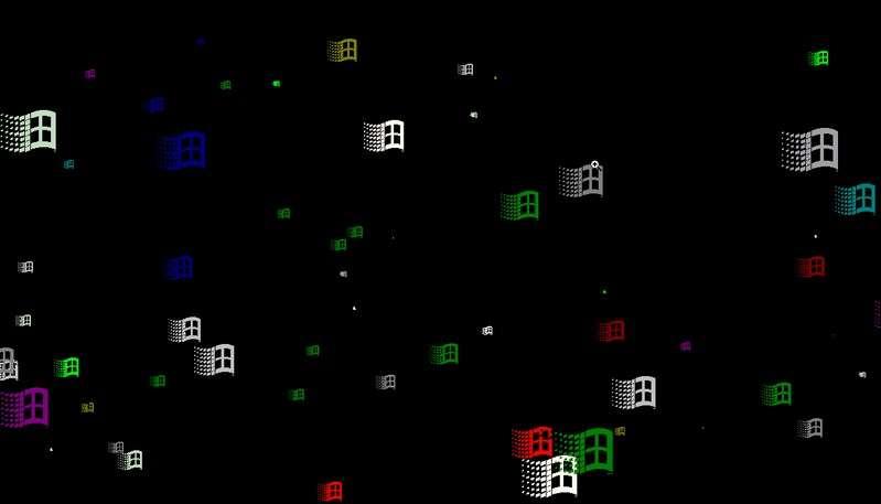 Premiers économiseurs d'écrans. © Microsoft
