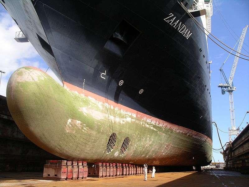 Un cargo au carénage : la partie normalement immergée de la coque (en rouge) est recouverte d'algues, de moules et autres organismes (tapis verdâtre sur l'image) qui freinent le bateau. © Sanner 06n2ey, Wikipédia CC by-sa-2.5