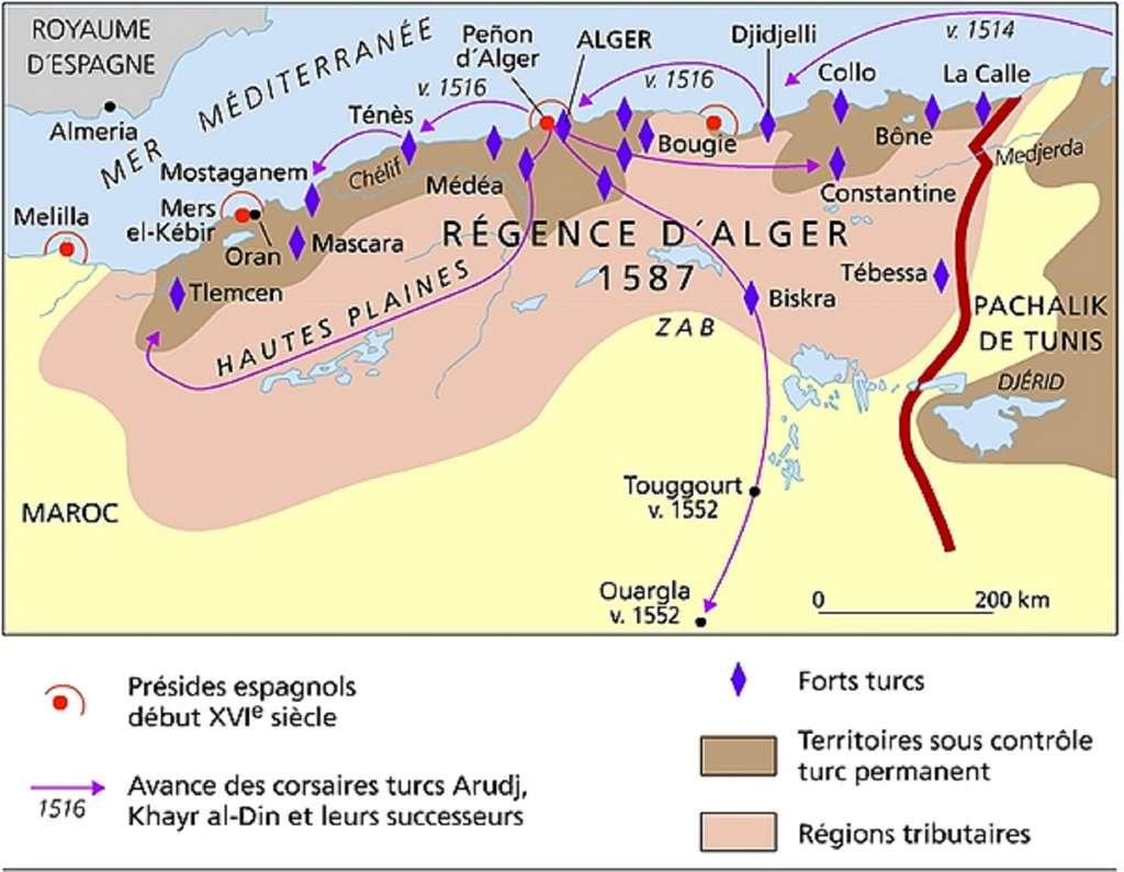 Carte de l'évolution territoriale de la régence d'Alger au XVIe siècle. © Kabyle Universel.