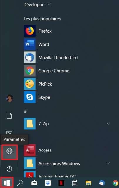 Cliquez sur l'icône des « Paramètres » dans le menu « Démarrer ». © Microsoft