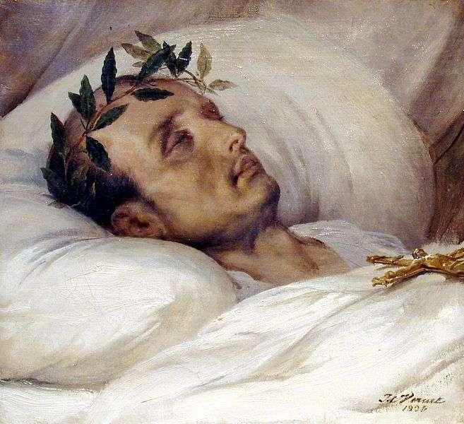 Napoléon sur son lit de mort, peinture d'Horace Vernet, 1826. Les cheveux de l'empereur contenaient une grande quantité d'arsenic. © DP