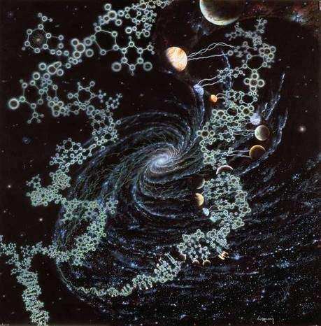Les trois infinis de l'univers. L'infiniment grand et l'infiniment petit se rejoignent pour tisser l'infiniment complexe des molécules biologiques. Le LHC est une clé pour explorer simultanément ces trois dimensions du cosmos. © Jon Lomberg