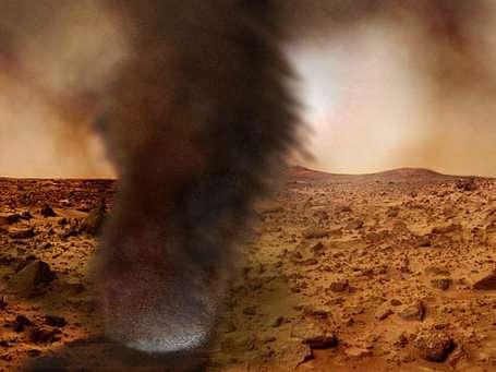 """Les """"dust devils"""", ces tourbillons de sable qui balayent la surface de Mars Ils époussètent régulièrement les panneaux solaires de Spirit et Opportunity (Crédits : NASA/JPL)"""