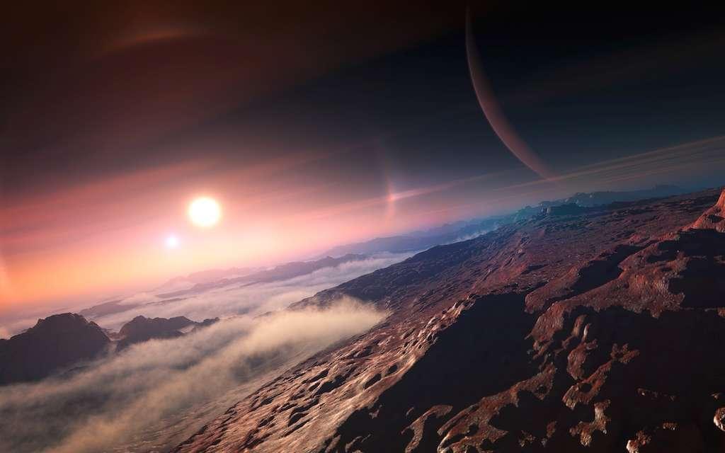 Illustration pour l'UAI d'un monde rocheux qui pourrait graviter autour d'une planète gazeuse dans un système binaire. Depuis début août, l'Union astronomique internationale vous invite à choisir parmi les noms présélectionnés ceux que vous préférez pour nommer une trentaine d'exoplanètes dans 20 systèmes différents (voir plus bas). © UAI, L. Calçada