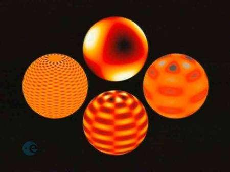 Dessin d'artiste montrant certains des modes d'oscillations de la surface du Soleil (Crédit : SMM (IAC)).