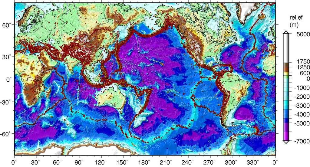 Carte de la sismicité mondiale, de 1973 à 2004. © NEIC, M.-A. Gutscher