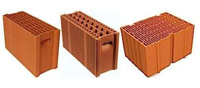 De gauche à droite : type A « BGV Thermo » et type B « BGV Primo » de Boyer Leroux, monomur Gélis d'Imerys Terre cuite