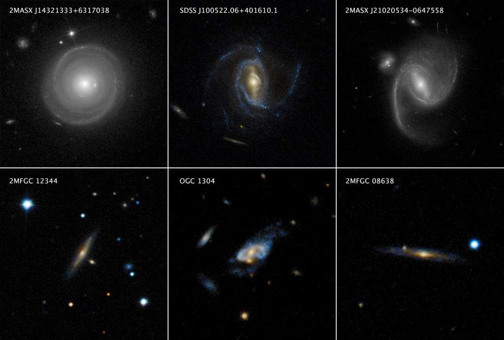 La rangée supérieure de cette mosaïque présente des images de Hubble montrant trois galaxies spirales, chacune pesant plusieurs fois la Voie lactée. La rangée du bas montre trois galaxies spirales encore plus massives qualifiées de « super spirales », qui ont été observées par le sondage au sol du Sloan Digital Sky. Les super spirales ont généralement 10 à 20 fois la masse de la Voie lactée. La galaxie, en bas à droite, 2MFGC 08638, est la super spirale la plus massive connue à ce jour. © Rangée du haut : Nasa, ESA, P. Ogle et J. DePasquale (STScI). Rangée du bas : SDSS, P. Ogle et J. DePasquale (STScI)
