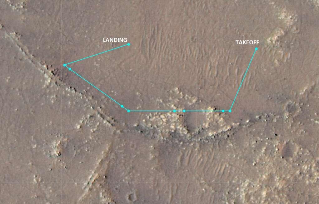 Sur cette image du cratère Jezero, le parcours du dixième vol d'Ingenuity avec les points à partir desquels l'hélicoptère a pris des photos de « Rised Ridges », une zone que les chercheurs envisagent d'explorer à l'aide du rover Perseverance. © Nasa, JPL-Caltech, Université de l'Arizona