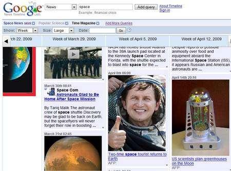 Après le choix du magazine Popular Science, de l'affichage par semaines et avec le mot clé space, Google News Timeline montre tous les articles correspondant à ces critères.
