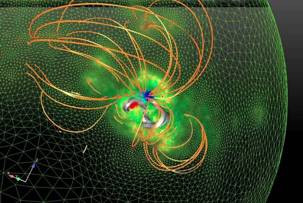 Modèlisation du champ magnétique dans la région du Soleil où est survenue une éruption majeure le 13 décembre 2006. Ce modèle est obtenu à l'aide de mesures du champ magnétique à la surface du Soleil et d'un code de calcul adaptatif à haute résolution. Il met en évidence la présence d'une corde magnétique (en gris) quelques heures avant l'éruption, maintenue à l'état d'équilibre par des arcades magnétiques (en orange). © Tahar Amari, Centre de physique théorique