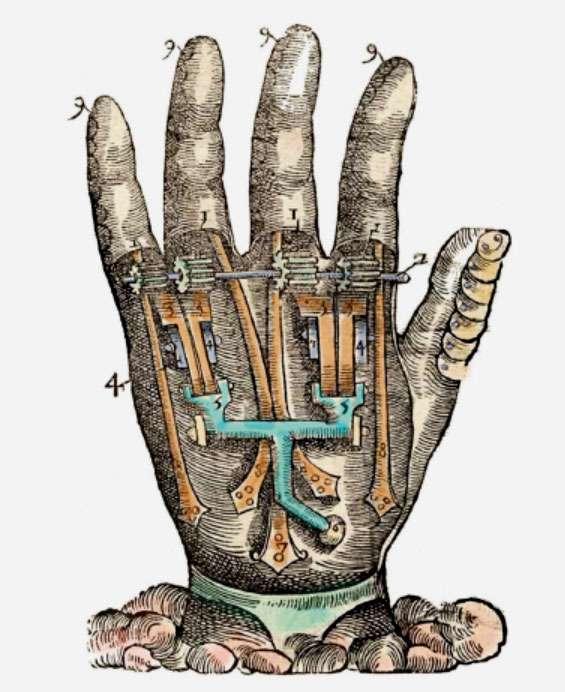 Main artificielle, d'après l'ouvrage d'Ambroise Paré Instrumenta chyrurgiae et icones anathomicae (Instruments chirurgicaux et illustrations anatomiques), 1564, Paris. © Dunod