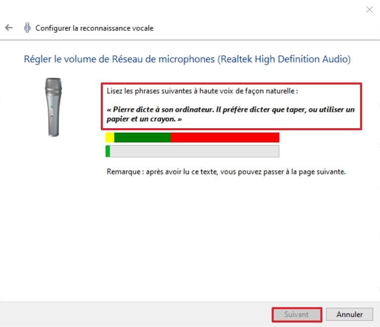 Lisez les phrases en gras afin de régler le volume de votre microphone. © Microsoft