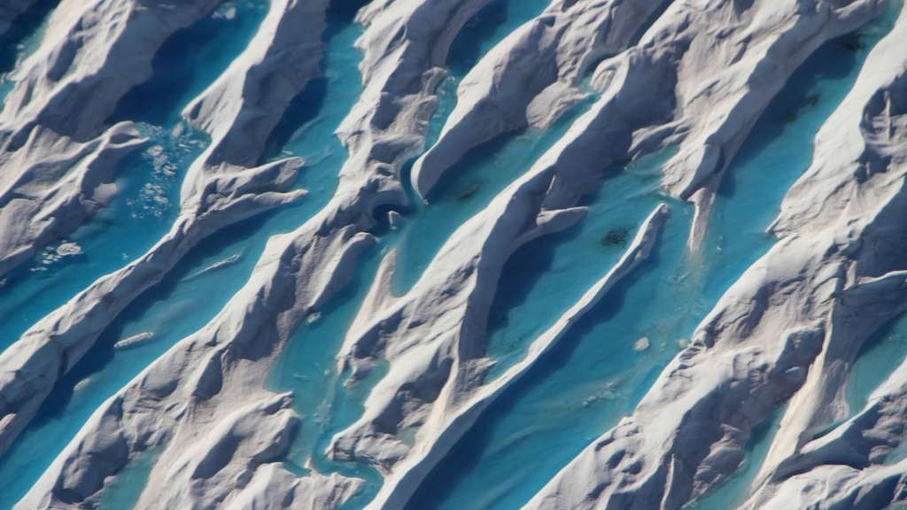 Des crevasses visibles au sud du Groenland en 2017. © Nasa, Operation IceBridge