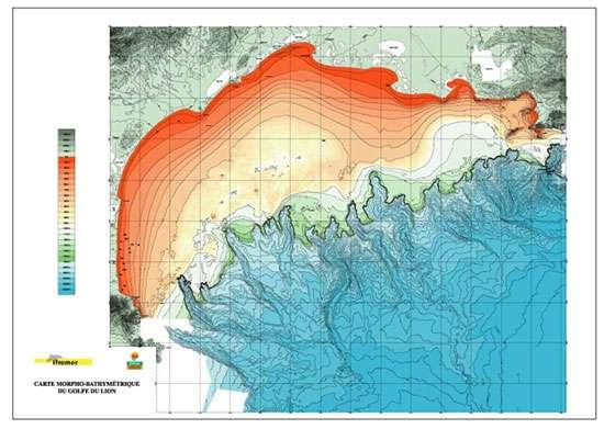 Morpho-bathymétrie du Golfe du Lion (publication Ifremer) © Ifremer Reproduction et utilisation interdites