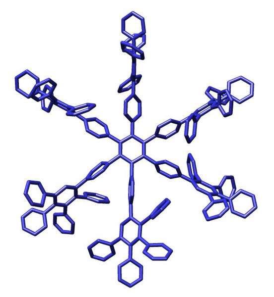 Les dendrimères sont de grosses molécules sphériques, ici en polyphénylène. © M stone, Wikimedia, GFDL 1.2