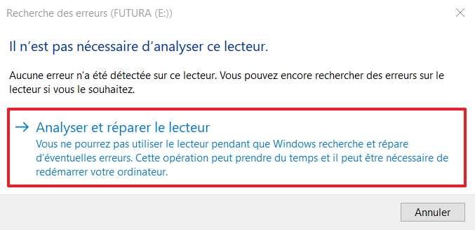 Cliquez sur « Analyser et réparer le lecteur » pour corriger les erreurs de fichiers. © Microsoft