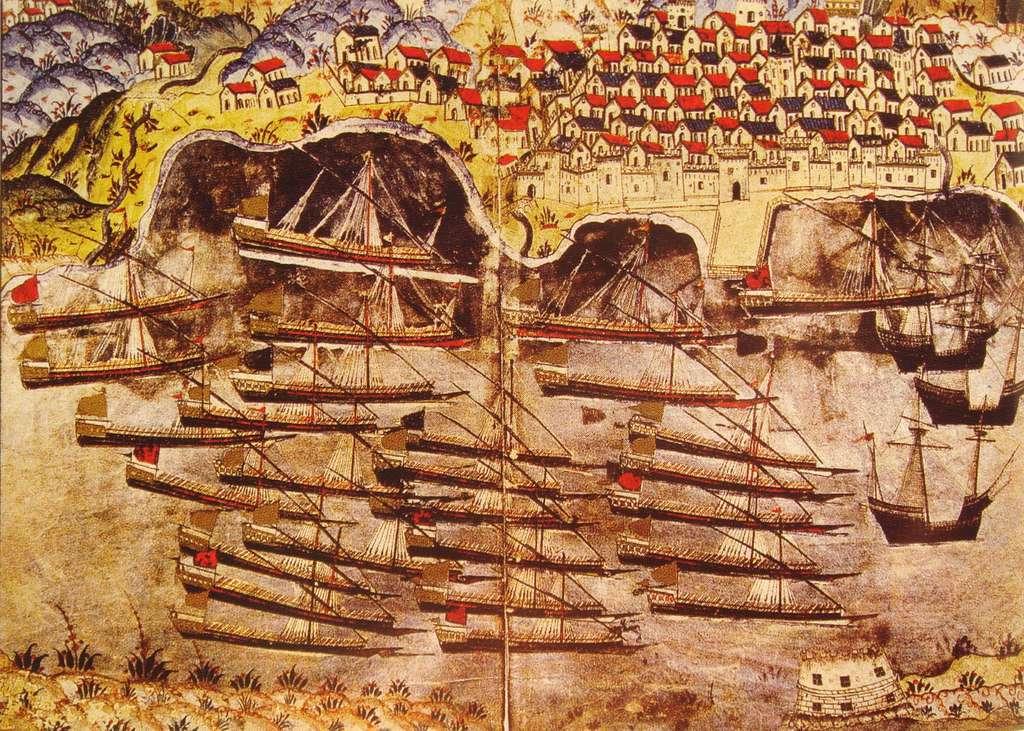 La flotte de Barberousse hiverne dans le port de Toulon en 1543, par M. Nasuh, XVIe siècle. © Wikimedia Commons, domaine public.