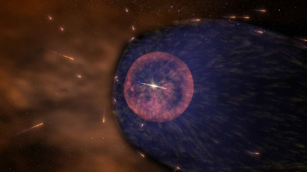Illustration de la forme supposée jusqu'à présent de l'héliosphère du Système solaire. Cette bulle créée par le vent solaire nous protège des rayons cosmiques qui pleuvent de toutes les directions de l'Univers. © NASA's Goddard Space Flight Center, Conceptual Image Lab