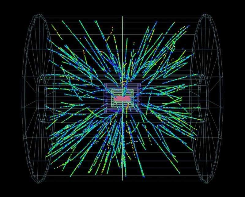 Des gerbes de particules envahissant le détecteur Alice à l'occasion des premières collisions proton-ion plomb de 2013. La prise de données pour la physique continuera jusqu'en février 2013. © Cern