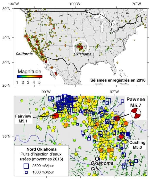 En haut : carte des séismes enregistrés par l'USGS pour l'année 2016 aux États-Unis. Ceux de la côte ouest sont associés à une activité tectonique « normale ». En revanche, dans l'Oklahoma (carte du bas), les séismes (cercles colorés en fonction de la magnitude) sont en très grande majorité induits par l'injection de fluides. © USGS