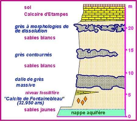 Coupe formation des calcites de Fontainebleau © http://www.cig.ensmp.fr