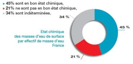 Cliquer pour agrandir. L'état chimique des eaux de surface françaises en 2009. Moins de la moitié des eaux de surfaces sont considérées comme ayant un bon état chimique. © Onema