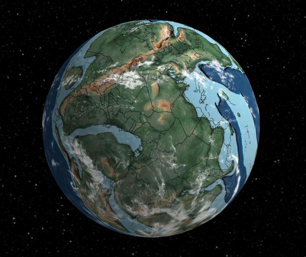 Une vue de la Terre à la fin du Permien, il y a 250 millions d'années, lors de la plus grande extinction de masse qu'ait connue la planète : 90 % de la vie a disparu. Cliquez ici pour accéder à la carte interactive. © Ian Webster