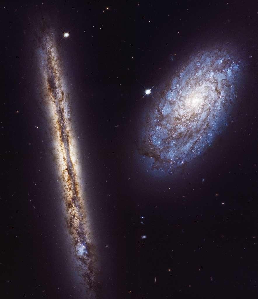 Image composite du duo de galaxies NGC 4302 et NGC 4298, prise avec la caméra WFC3 d'Hubble entre le 2 et le 22 janvier 2017. Téléchargez l'image en haute résolution ici (16,8 Mo). © Nasa, ESA, M. Mutchler (STScI)