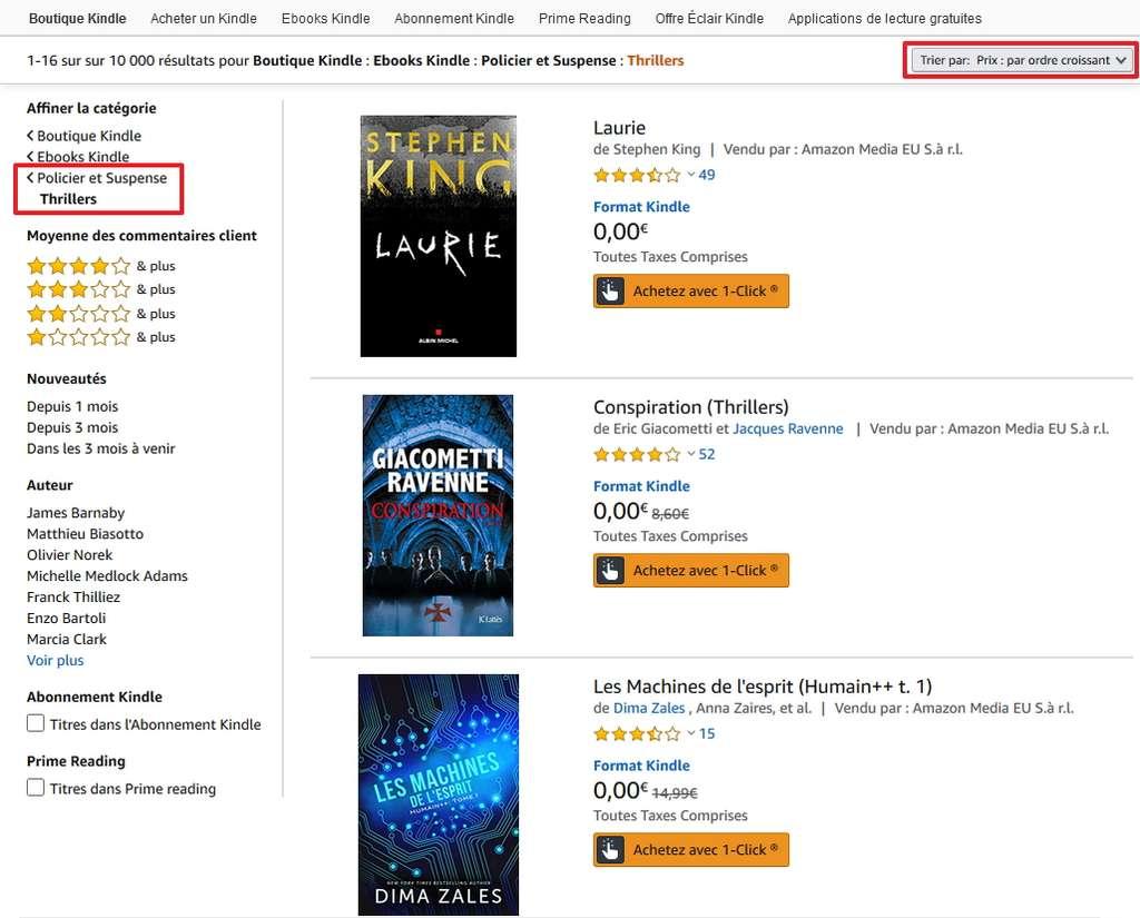Des milliers d'ebooks au format Kindle sont disponibles dans la boutique Kindle Amazon. © Amazon