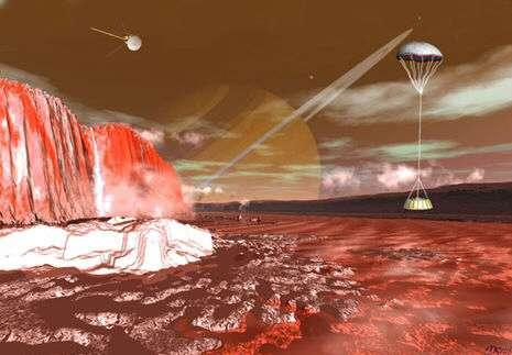 Huygens descendant doucement vers la surface de Titan
