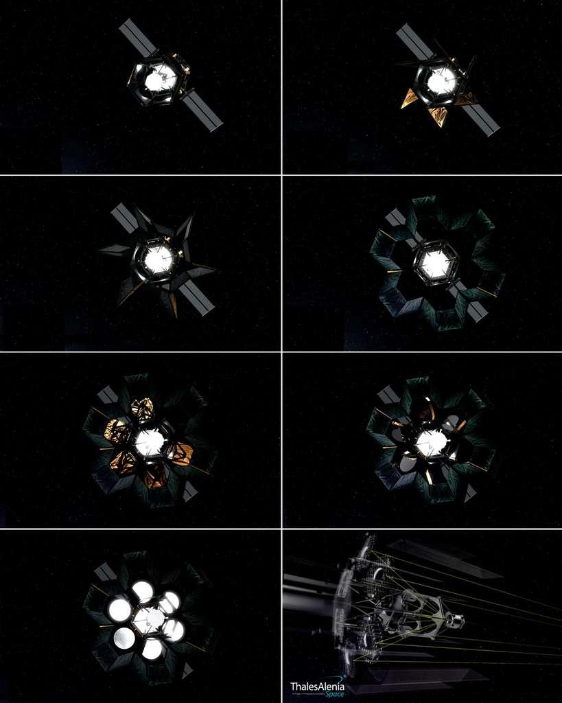 Séquence de déploiement du baffle et des miroirs du satellite Hoasis. © Thales Alenia Space