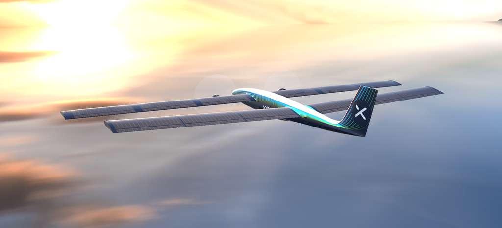Le drone SolarXOne dispose d'une autonomie de plus de 12 heures en vol grâce à une double aile portante. © XSun