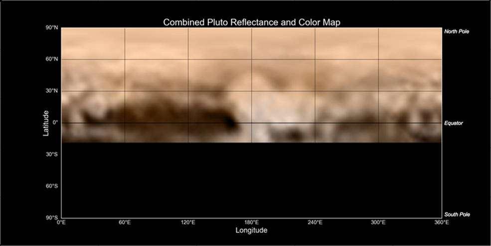 Une nouvelle carte de Pluton créée à partir des données de Lorri et Ralph, deux des sept instruments de New Horizons. La région claire au centre sera survolée par la sonde spatiale le 14 juillet prochain. © Nasa, JHUAPL, SwRI