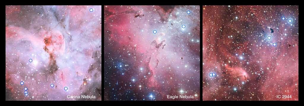 Ces spectaculaires vues panoramiques montrent des parties de la nébuleuse de la Carène (gauche), de la nébuleuse de l'Aigle (centre) et d'IC 2944 (droite). Ce sont toutes des régions de formation stellaire contenant beaucoup de jeunes et chaudes étoiles, dont plusieurs sont de type spectral O. Les étoiles O, dans ces régions de formation stellaire qui ont été intégrées dans un nouveau sondage réalisé avec le VLT de l'ESO, sont indiquées par un cercle. Beaucoup de ces étoiles se révèlent être des binaires très proches, et de tels systèmes transfèrent souvent de la masse d'une étoile à l'autre. Les images ont été réalisées à partir de clichés pris avec la caméra WFI sur le télescope MPG-ESO de 2,2 m à l'Observatoire de la Silla au Chili. © ESO