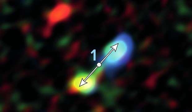 Un zoom sur une des images d'Alma montrant des jets associés à une protoétoile. © Alma (ESO/NAOJ/NRAO), Yusef-Zadeh et al., B. Saxton (NRAO/AUI/NSF)