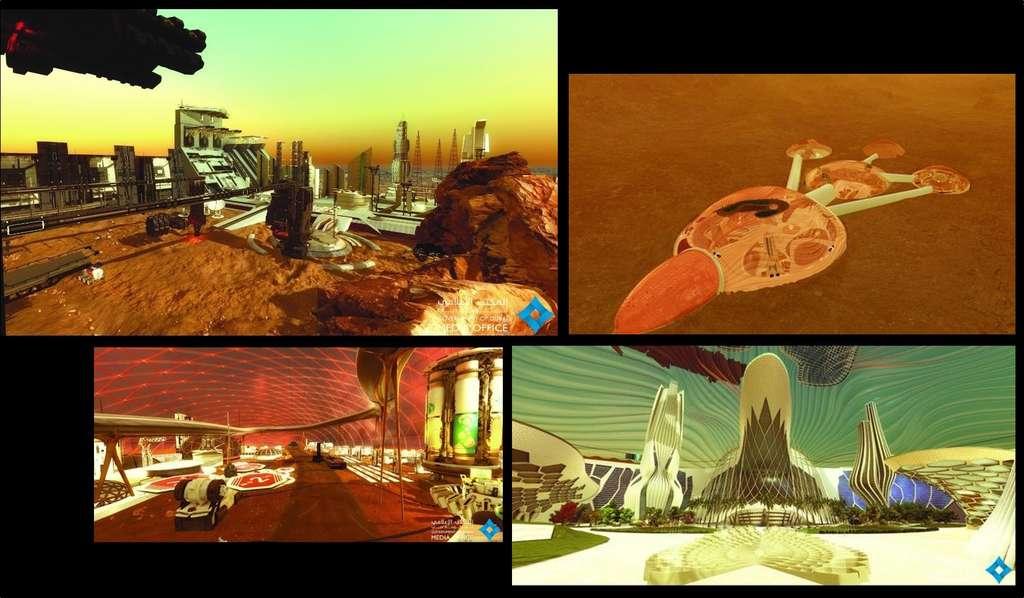 Quatre illustrations du projet Mars 2117. © Dubai Media Office