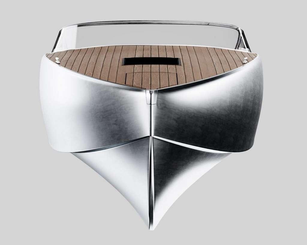 Le profil de la coque en aluminium du Sarvo37 est inspiré des anciens dragueurs de mines danois. © Sarvo Marine