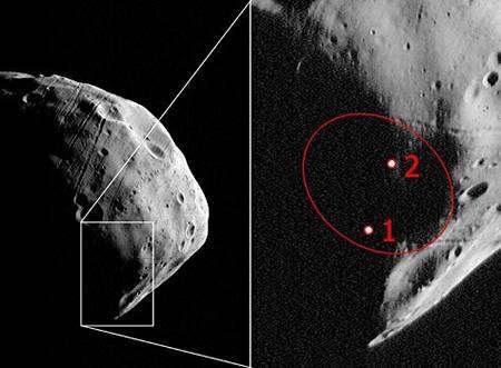 Cette image prise par la caméra HRSC avec une résolution de 3,7 mètres par pixel montre les sites d'atterrissage potentiels de la sonde russe Phobos-Grunt, dont le lancement est prévu en 2009. Crédit : Esa/ DLR/ FU Berlin (G. Neukum)